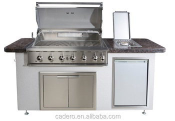 CBY 6-burners full stainless steel BBQ gas grill with beautiful hearth