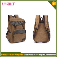 Hot korean style outdoor pattern cheap waterproof canvas leather backpacks laptop bags