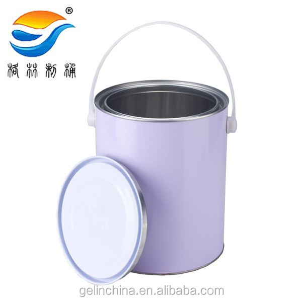 4L Piant bucket,Tin container with handle and lid, Round Tinplate can for paint