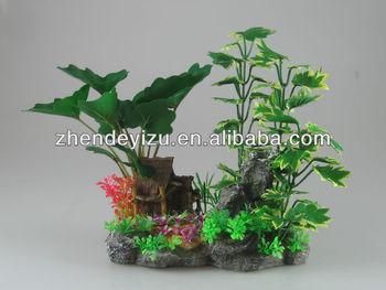 aquarium tank garden aquascaping artificial plastic plants group with polyresin ornament archor
