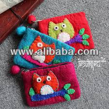 Felt owl decor purse in various color