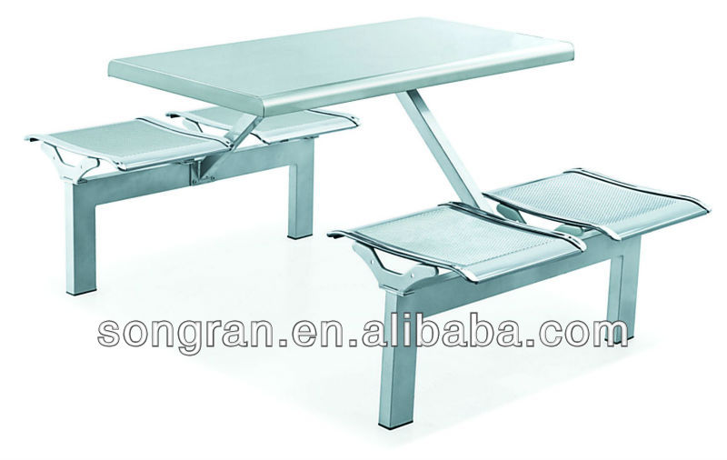 stainless steel 2/4/8 seats fast food table and chair canteen furniture