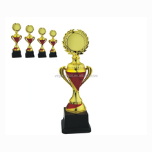 Wholesale Peacock tail design gold color sports Iron plastic trophy cup with medal for Competition trophy