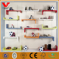 Canvas and sports shoes shop interior design, wall mounted wooden shoe display shelf