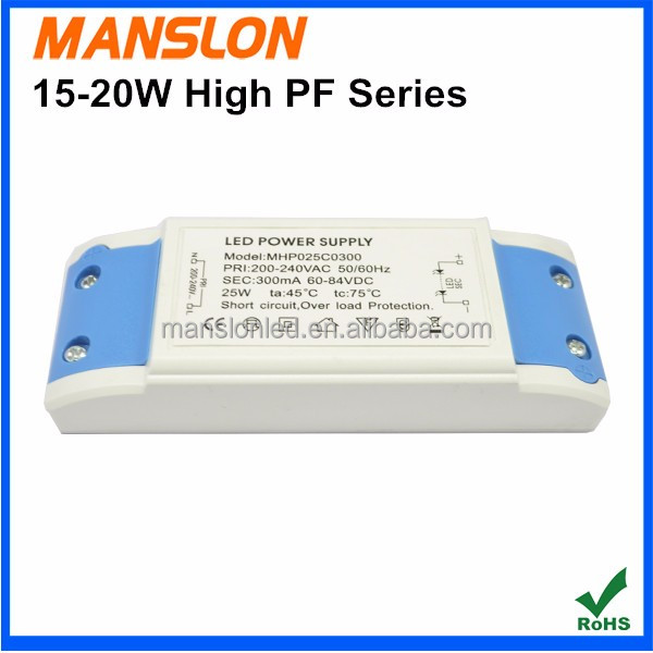High PF 15W 18W 20W constant current 240mA 300mA LED driver emergency power supply switching