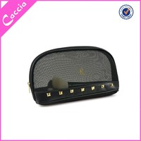 black mesh cosmetic bag with metallic stars decoration