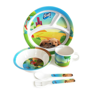 Unbreakable A5 melamine baby dinner set, kids tableware set