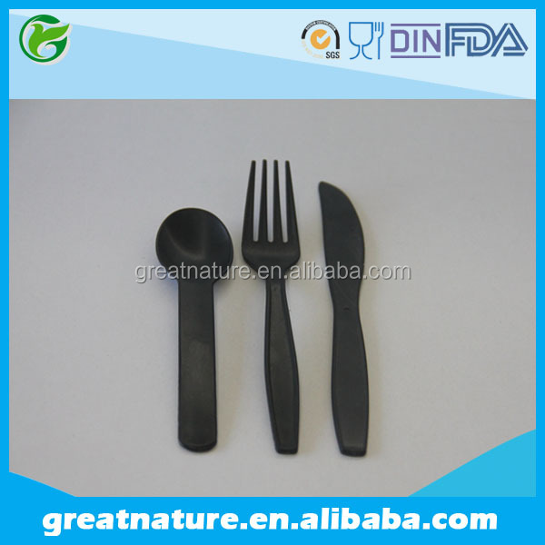 Black biodegradable plastic spoon/fork/knife for restaurant