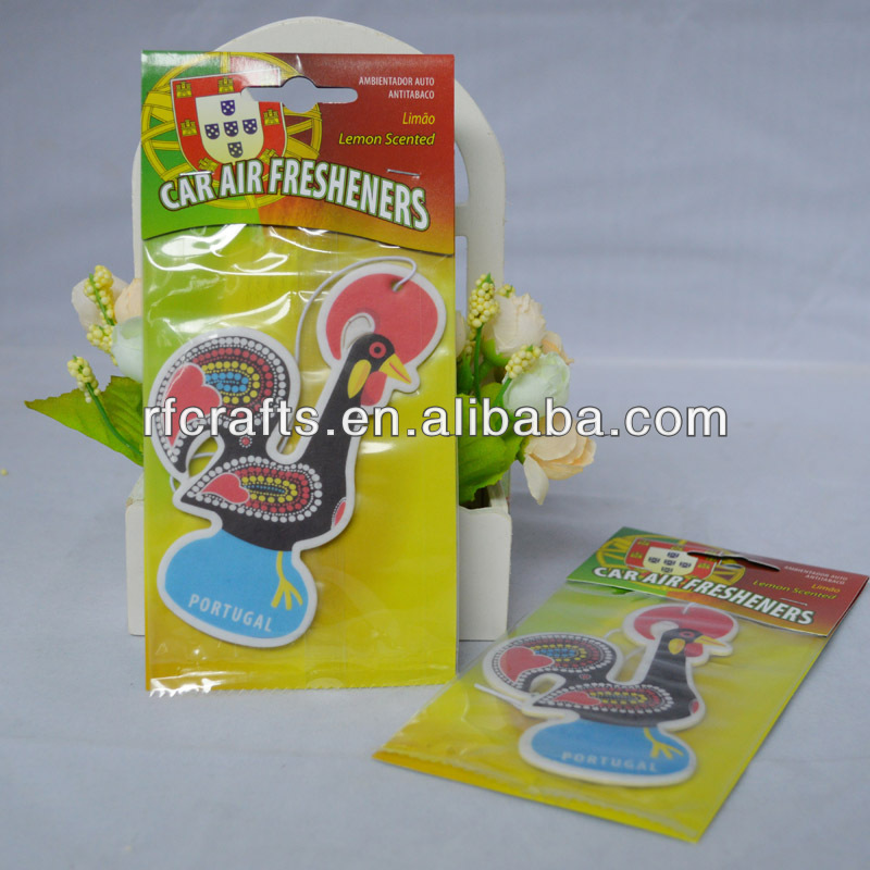 chicken shape customized paper air car freshener hanging car freshener