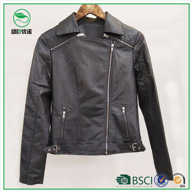 High quality women cheap PU bomber jacket with side zipper opening