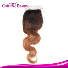 Star quality quick delivery highlight color brazilian body wave 4/27/30 remy lace closure