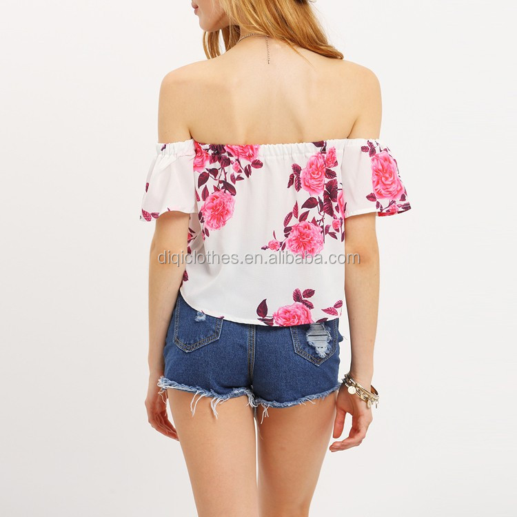 Latest design pictures summer guangzhou clothing factory OEM lady girls pink off the shoulder Flower Print Top