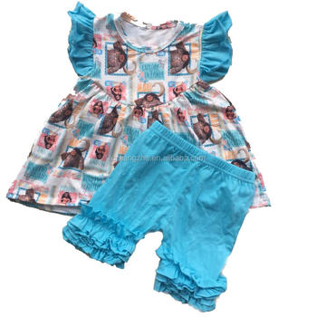 Factory price kids outfits cartoon pattern sleeveless dress match solid color ruffle shorts