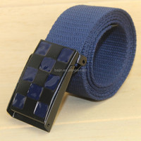 Fashion 3.8cm colored fabric canvas webbing belt with plate buckle
