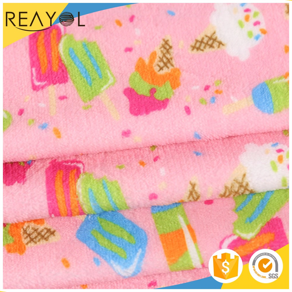 China products soft printed plush fabric 100% polyester interlock fabric
