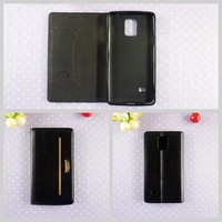 Flip black leather mobile phone case for samsung s3 s4 s5 s6 edge men wallet phone cover wholesale