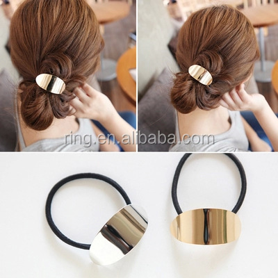 Fashion Korean Style Gold Metal Leaf Hair bands black elastic hair band for Women