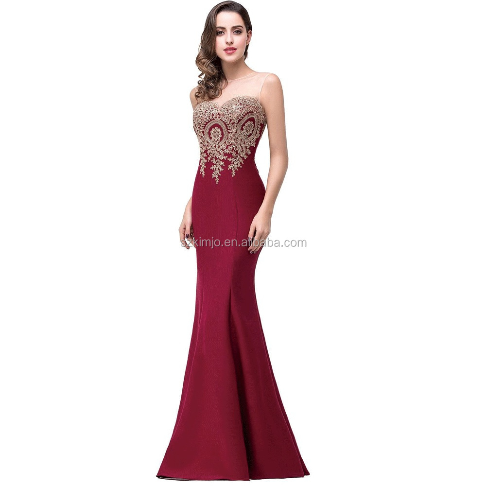 Lace Applique Mermaid Evening Dress 2017 Long Sleeveless Suzhou Prom Dress