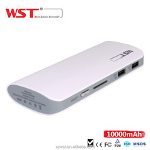 New product Small size 10000mAh daul USB 2A output Portable mobile power bank,quick charge