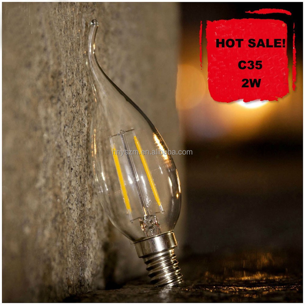 HOT!!! Led Lights C35 Led Filament Candle Bulbs 1W 2W 3W 4W 6W Chandelier C35 Led Glass Bulbs Lights E12 E14 E26 E27 B22 2700K