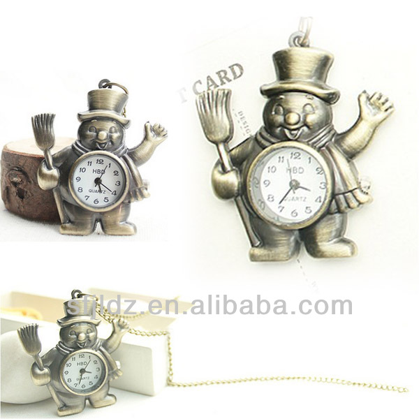 Cartoon smile face gift watch with Bronze chain