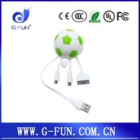 unique promotional gift business present for conference :3 in 1Football cute USB Cables