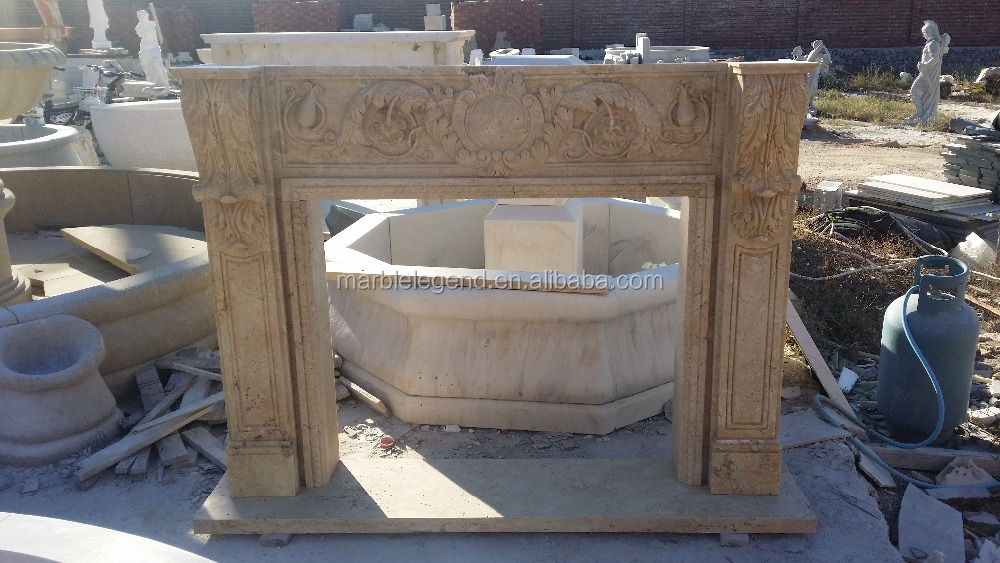 Indoor moulding free standing travertine double sided fireplace mantel