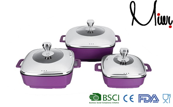 6pcs Super Purple Diamond Square set casseroles carl weill cookware set
