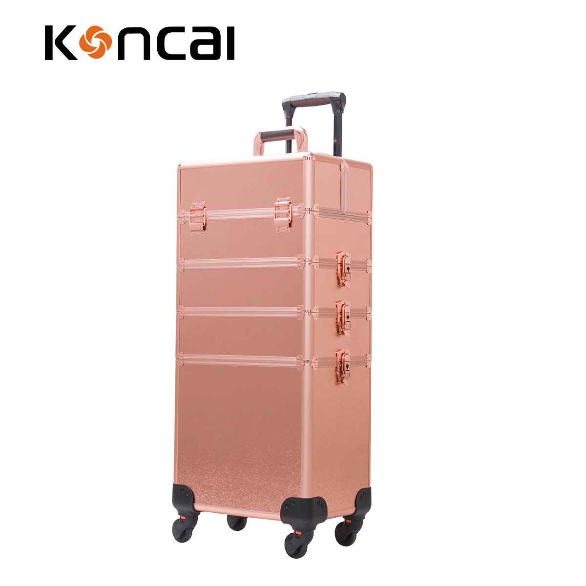 4 in 1 Aluminium makeup trolley train case in rose gold case beauty case