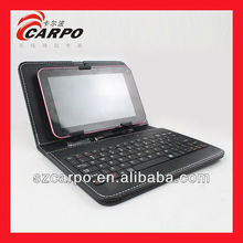 Black rubber surface Leather Case Keyboard For Tablets 7inches