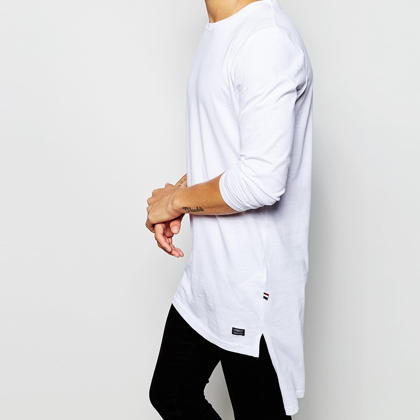 Wholesale 100 cotton blank customized white long sleeve t for Buy 100 cotton t shirts in bulk