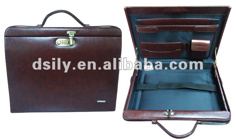 business leather attache case wood briefcase for men cheap with good quality
