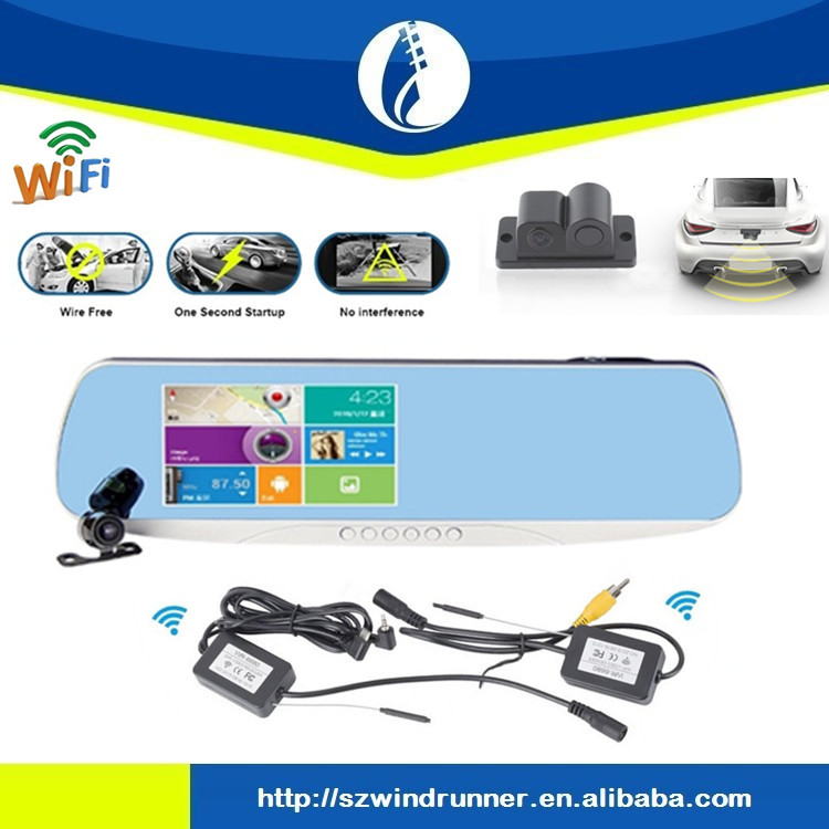 No interference wiring free <strong>5</strong>.<strong>o</strong> inch full hd gps car digital reaview mirror wireless wifi gps car dvr rearview mirror