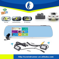 No interference wiring free 5.o inch full hd gps car digital reaview mirror wireless wifi gps car dvr rearview mirror