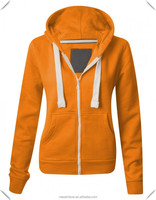 hot sale custom woman 2014 fashion cotton polar fleece Orange Zip hoody Hoodies