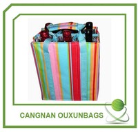 Color stripe non-woven wine bag