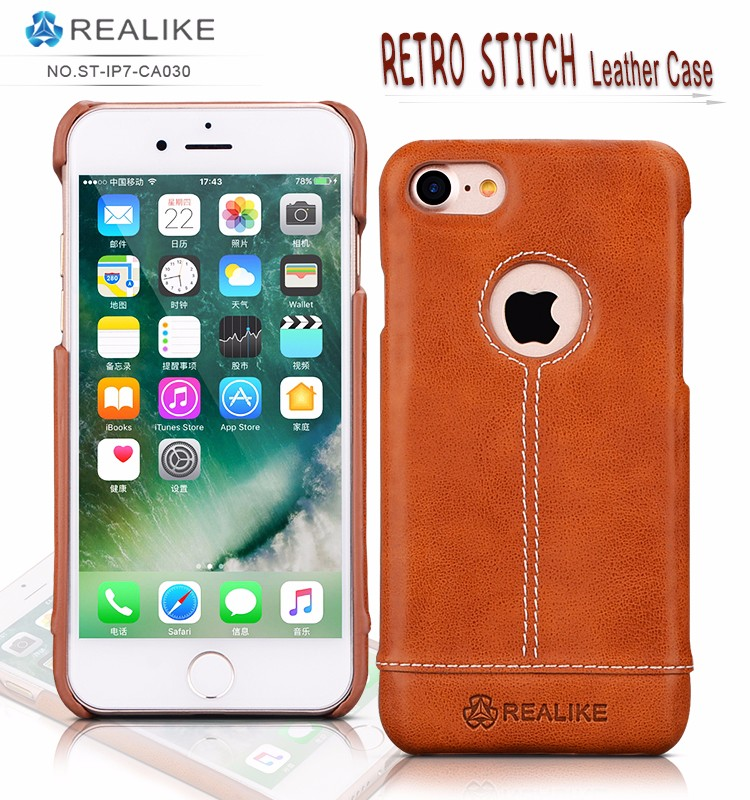 New logo design pu leather back mobile phone case cover for apple iphone 7