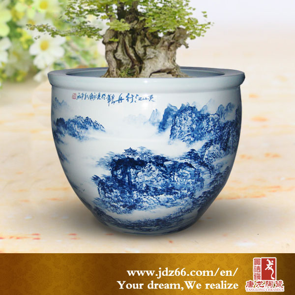 Chinese Hand Painted Glazed Ceramic Outdoor Large Flower Pots