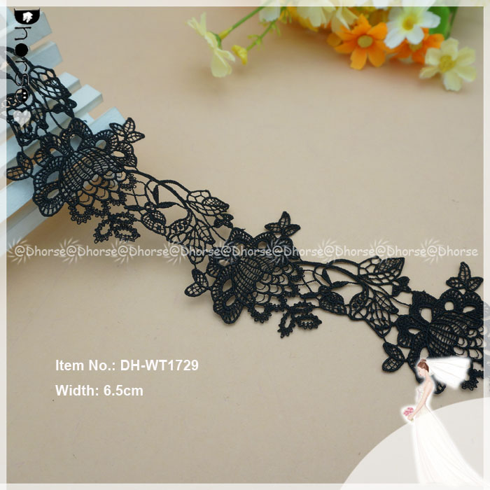 Black Cotton Eyelet Lace Trim, Cotton Guipure Lace Trim wholesale