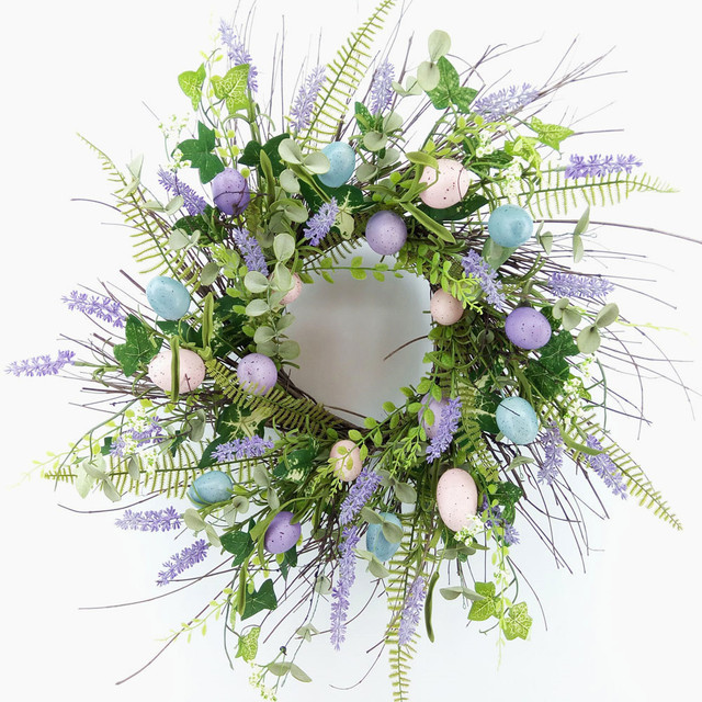 Spring Easter Lavender Flower and Fern Wreath with Multi-color Eggs