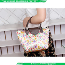 Yiwu factory supply folding satin tote travel lady bag with high quality