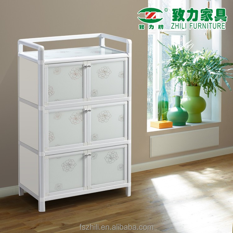 Factory supply large capacity living furniture aluminum multi function storage cabinet 6Y29AT WHITE