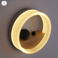 Caren modern Europe metal with wood and acrylic circular LED wall lamp