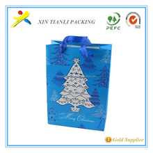 Hot sell paper package christmas tree bag,luxury custom made cheap paper christmas bag