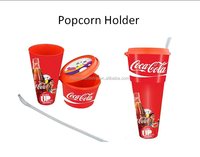2017 hot sell new style portable plastic popcorn cup with drink bottle
