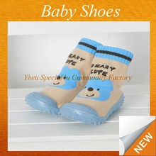 Wholesale 2015 hot sale new style baby skidders sock shoes soft rubber sole baby shoe sock SYBS-058
