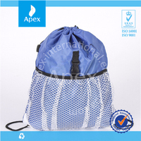 New design drawstring backpack with mesh bag