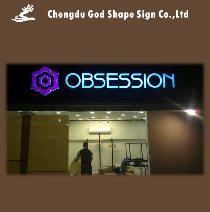 Store front led lighted wall mounted sign