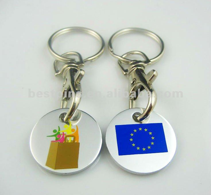 Metal key chain with token coin