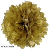 Gold Tissue Paper Wedding Decoration Hanging Rose Flower Pompoms